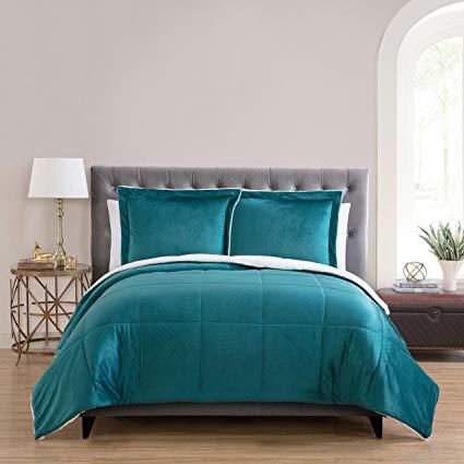 Micro Mink Reversible Sherpa 3 Piece Bedding Comforter Set (King)