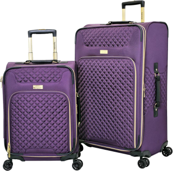 KENSIE AUREA 2-Piece Softside Luggage Collection with Quilted Front Panel and Gold Zippers